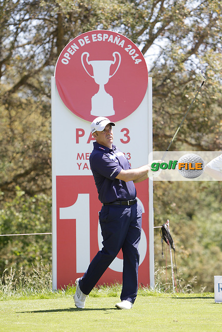 Paul McGinley (IRL) on the 16th tee during the Pro-Am in The Open De Espana at The PGA Catalunya Resort on Wednesday 14th May 2014.<br /> Picture:  Thos Caffrey / www.golffile.ie