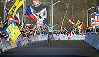 solo victory for Michael Vanthourenhout (BEL) who crowns himself 2015 U23 CX World Champion<br /> <br /> Men U23 race<br /> <br /> 2015 UCI World Championships Cyclocross <br /> Tabor, Czech Republic