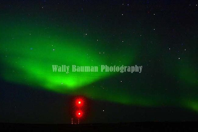 CHURCHILL AIRPORT AND THE  NORTHERN LIGHTS,  'Aurora borealis' CHURCHILL, MANITOBA, CANADA