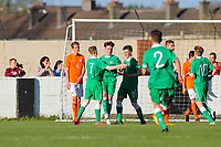 Aaron Connolly (At age 15) of Republic of Ireland U15 celebrates scoring the game's only goal during the friendly with the Netherlands.<br /> <br /> Republic of Ireland v Netherlands, U15 International Friendly,14/4/15, Pearse Stadium, Janesboro FC, Limerick.