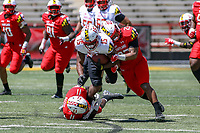 College Park, MD - April 27, 2019:  Maryland Terrapins wide receiver Brian Cobbs (15)  is tackled by Maryland Terrapins defensive back Fa'Najae is tackled by during the spring game at  Capital One Field at Maryland Stadium in College Park, MD.  (Photo by Elliott Brown/Media Images International)