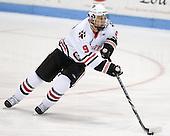 Garrett Vermeersch (Northeastern - 9) - The visiting Merrimack College Warriors defeated the Northeastern University Huskies 4-3 (OT) on Friday, February 4, 2011, at Matthews Arena in Boston, Massachusetts.