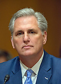 United States House Majority Leader Kevin McCarthy (Republican of California) appears to introduce Steven T. Mnuchin to the US Senate Committee on Finance considering his nomination to be Secretary of the Treasury on Capitol Hill in Washington, DC on Thursday, January 19, 2017.<br /> Credit: Ron Sachs / CNP