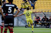 Ulises Davila of Wellington Phoenix celebrates a goal during the A League - Wellington Phoenix v Western Sydney Wanderers FC at Sky Stadium, Wellington, New Zealand on Saturday 11 January 2020. <br /> Photo by Masanori Udagawa. <br /> www.photowellington.photoshelter.com