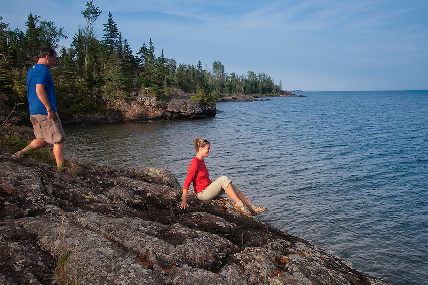 Hiking the Stoll Trail along Scoville Point on Isle Royale National Park.