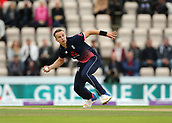 29th September 2017, Ageas Bowl, Southampton, England; One Day International Series, England versus West Indies; Tom Curran of England stops a single during his over