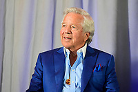 August 9, 2017: New England Patriots owner Robert Kraft, attends a press conference for the retirement announcement of Vince Wilfork held at the Optum Field Lounge, in Gillette Stadium, in Foxborough, Mass.