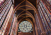 France, Paris, Interior of Sainte-Chapelle,stained glass window