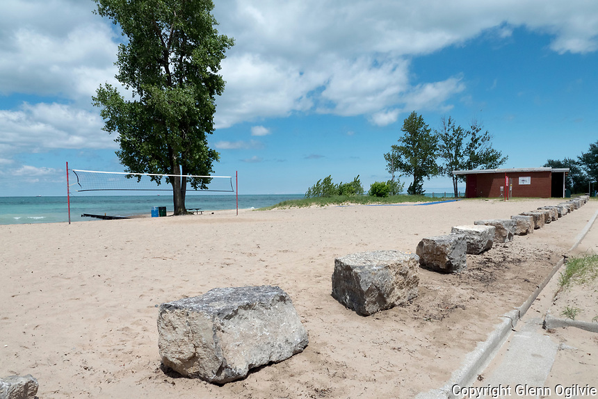 Armour stone along the beach and parking lot at Canatara Park.