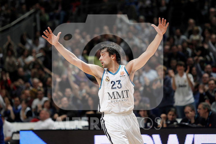 Real Madrid's Sergio Llull celebrates during Euroleague 2012/2013 match.November 23,2012. (ALTERPHOTOS/Acero)