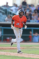 Sherman Johnson #10 of the Inland Empire 66ers runs to first base during a playoff game against the Lancaster JetHawks at The Hanger on September 7, 2014 in Lancaster, California. Lancaster defeated Inland Empire, 5-2. (Larry Goren/Four Seam Images)