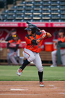 AZL Giants second baseman Jose Rivero (26) bats during a game against the AZL Angels on July 9, 2017 at Diablo Stadium in Tempe, Arizona. AZL Giants defeated the AZL Angels 8-4. (Zachary Lucy/Four Seam Images)