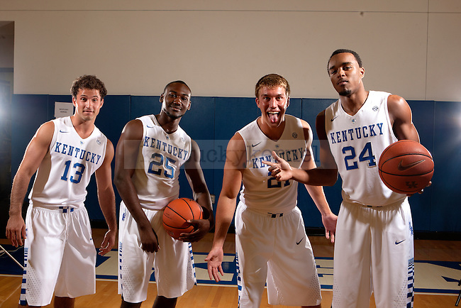 Guards Sam Malone, Dominique Hawkins, Tod Lanter, and EJ Floreal goof off in Lexington, Ky.,on Thursday, September 4, 2014. Photo by Michael Reaves | Staff