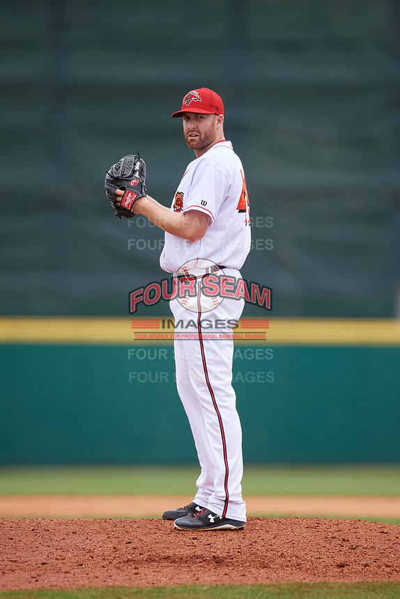 Florida Fire Frogs relief pitcher Chase Whitley (49) gets ready to deliver a pitch during a game against the Daytona Tortugas on April 8, 2018 at Osceola County Stadium in Kissimmee, Florida.  Daytona defeated Florida 2-1.  (Mike Janes/Four Seam Images)
