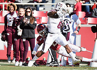 NWA Democrat-Gazette/CHARLIE KAIJO Arkansas defensive back Kamren Curl (2) stops Mississippi State running back Kylin Hill (8) Saturday, November 2, 2019 during the first quarter of a football game at Donald W. Reynolds Razorback Stadium in Fayetteville. Visit nwadg.com/photos to see more photographs from the game.