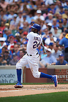 Chicago Cubs outfielder Dexter Fowler (24) hits a home run during a game against the Milwaukee Brewers on August 13, 2015 at Wrigley Field in Chicago, Illinois.  Chicago defeated Milwaukee 9-2.  (Mike Janes/Four Seam Images)