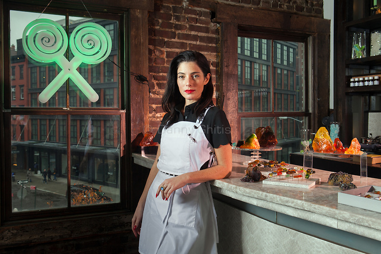 """Maayan Silberman, 36, cast """"healing"""" crystal candy from real rocks for her pop up shop Sweet Saba at Fort Gansevoort."""