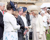 19 May 2016 - London, England - Camilla Duchess of Cornwall meets guests during a garden party at Buckingham Palace in London. Photo Credit: ALPR/AdMedia