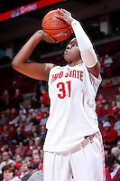 Ohio State Buckeyes guard Raven Ferguson (31) shoots a three-point basket during the second half of the NCAA women's basketball game between the Ohio State Buckeyes and the Appalachian State Mountaineers at Value City Arena in Columbus, Ohio, on Friday, Dec. 20, 2013. The Buckeyes overcame a 21-18 deficit at the half to defeat the Mountaineers 52-38.  (Columbus Dispatch/Sam Greene)