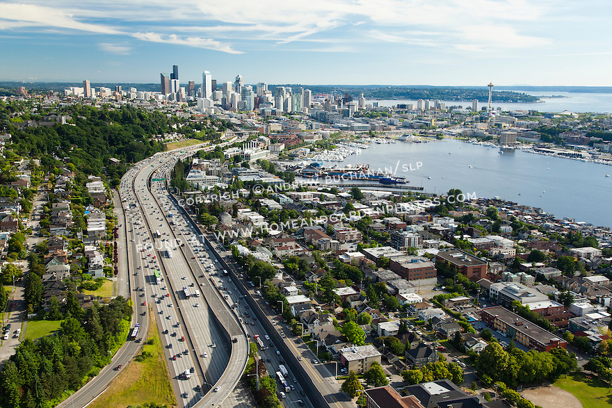 Interstate 5 (I-5), Eastlake neighborhood, Lake Union, downtown Seattle skyline, and Space Needle; Seattle, WA