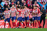 Players of Atletico de Madrid celebrate goal during La Liga match between Atletico de Madrid and Sevilla FC at Wanda Metropolitano Stadium in Madrid, Spain. March 07, 2020. (ALTERPHOTOS/A. Perez Meca)