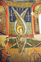 Apse of Santa Maria d&rsquo;Aneu<br /> <br /> Late eleventh century - the beginning of the twelfth century<br /> Fresco transferred to canvas from the Church of Santa Maria d&rsquo;Aneu, La Guingueta d&rsquo;Aneu, Pollars Sobira, Spain.<br /> <br /> Acquisition of Museums Board of the 1919-23 campaign. MNAC 15874<br /> <br /> The iconography of the Romanesque frescoes of the Apse of Santa Maria d&rsquo;Aneu shows the strong intellectualization of Romanesque art, which often waves the narrative in favor of symbolic concepts. Images of the Old Testament prophecy occupy the central part of the apse: the Seraphim of Isaiah's vision, burning embers that purify the words of Isaiah and of Elijah and four-wheel chariot of fire of Yahweh according to the vision of Ezekiel.