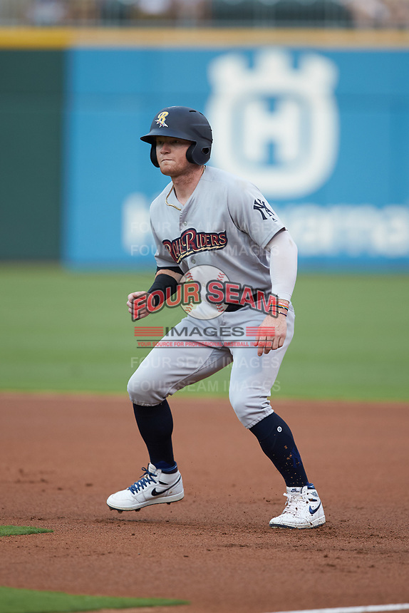 Clint Frazier (77) of the Scranton/Wilkes-Barre RailRiders takes his lead off of first base against the Charlotte Knights at BB&T BallPark on August 13, 2019 in Charlotte, North Carolina. The Knights defeated the RailRiders 15-1. (Brian Westerholt/Four Seam Images)