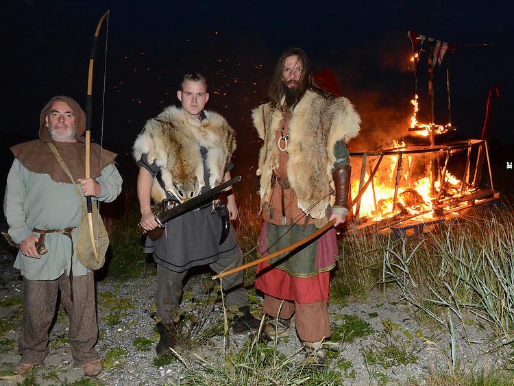 Vikings at the burning of a boat at the parade at the Viking festival in Annagassan. Photo:Colin Bell/pressphotos.ie