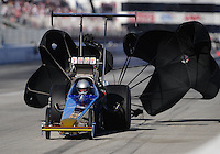 Nov 13, 2010; Pomona, CA, USA; NHRA top alcohol dragster driver Joey Severance during qualifying for the Auto Club Finals at Auto Club Raceway at Pomona. Mandatory Credit: Mark J. Rebilas-