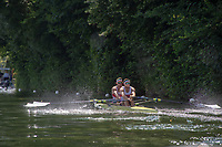 """Henley on Thames, United Kingdom, 3rd July 2018, Saturday,  """"Henley Royal Regatta"""",  Heat of """"The Double Sculls Challenge Cup. Bow Gary O'DONOVAN and Stroke Paul O'DONOVAN, move away from the start, Henley Reach, River Thames, Thames Valley, England, UK."""