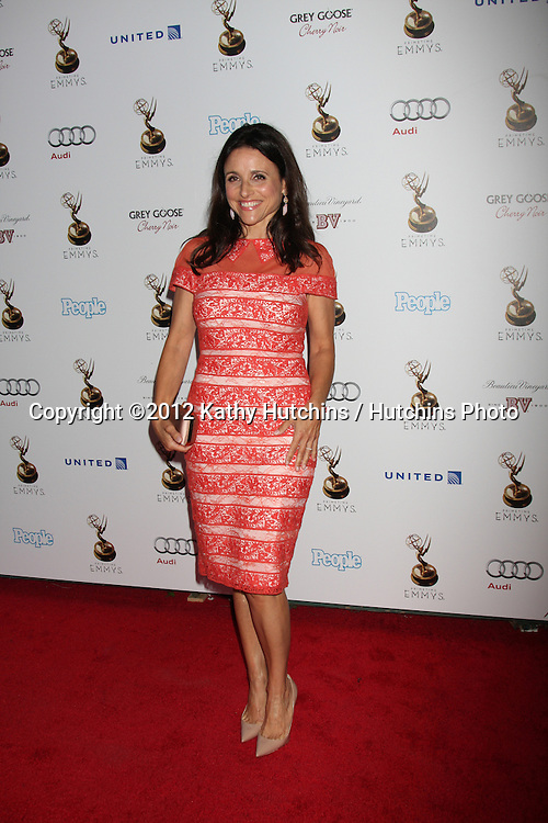LOS ANGELES - SEP 21:  Julia Louis-Dreyfus arrives at the Primetime Emmys Performers Nominee Reception at Spectra by Wolfgang Puck on September 21, 2012 in Los Angeles, CA