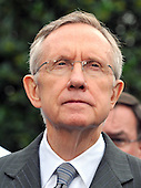 Washington, DC - October 6, 2009 -- United States Senate Majority Leader Harry Reid (Democrat of Nevada) makes remarks after meeting United States President Barack Obama on the U.S. strategy in Afghanistan on Tuesday, October 6, 2009..Credit: Ron Sachs / Pool via CNP