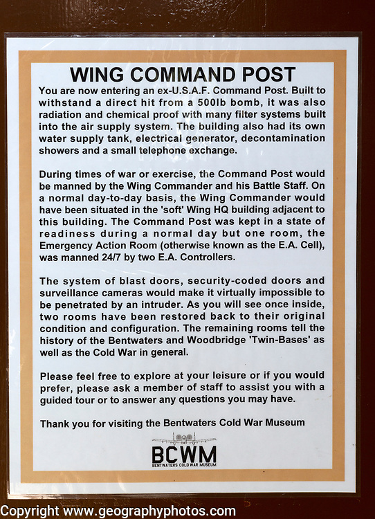 Information poster notice about the Wing Command Post, Bentwaters Cold War museum, Suffolk, England, UK