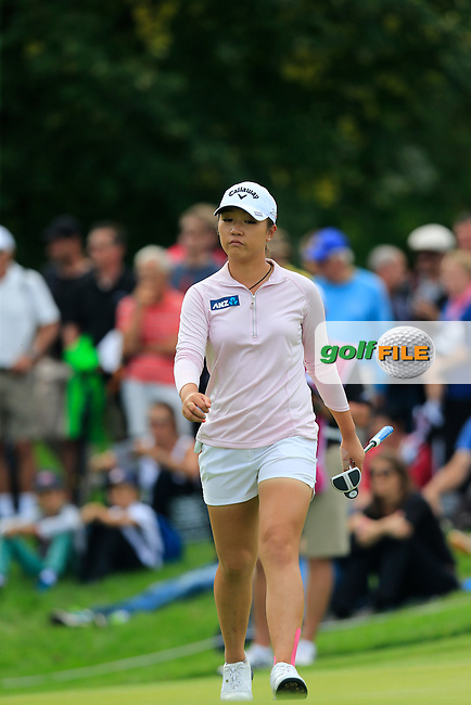 Lydia Ko (NZL) on the 14th green during Sunday's Final Round of the LPGA 2015 Evian Championship, held at the Evian Resort Golf Club, Evian les Bains, France. 13th September 2015.<br /> Picture Eoin Clarke | Golffile