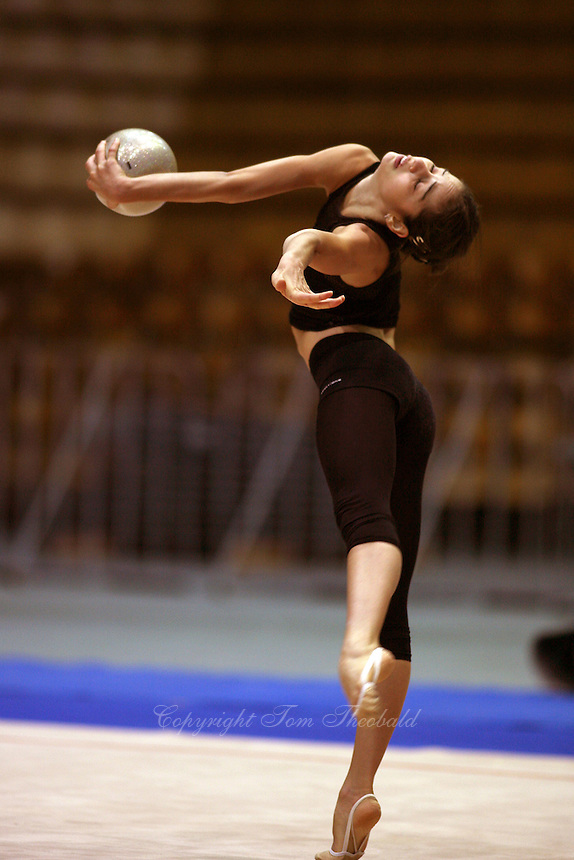 Anahi Sosa of Argentina trains with ball before 2006 Deriugina Cup Grand Prix at Kiev, Ukraine on March 16, 2006. (Photo by Tom Theobald)
