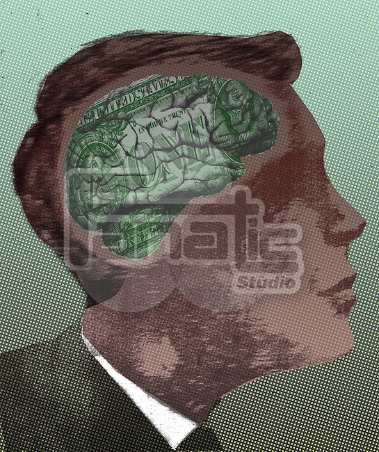 Illustrative image of businessman with money minded brain representing economical thinking