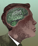 Illustrative image of businessman with money minded brain representing economical thinking