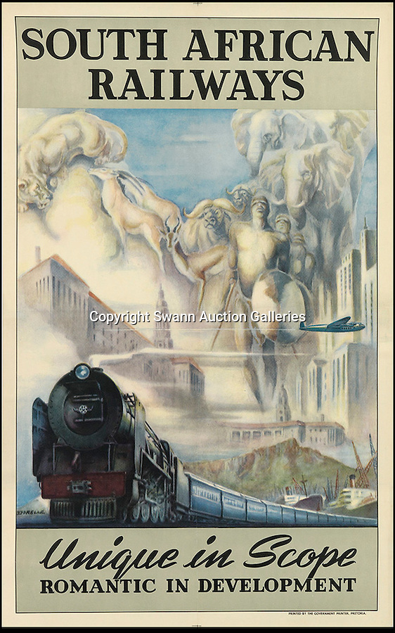 BNPS.co.uk (01202 558833)<br /> Pic: SwannGalleries/BNPS<br /> <br /> ***Please Use Full Byline***<br /> <br /> South African Railways - £1000<br /> <br /> Beautiful posters from the halcyon days of travel up for auction.<br /> <br /> Scarce vintage travel posters promoting holidays across the globe in the 1920's and 30's are tipped to sell for over £200,000 .<br /> <br /> The fine collection of 200 works of art that hark back to the halcyon days of train and boat travel have been brought together for sale.<br /> <br /> The posters were used to advertise dream holiday destinations in far-flung places such as the US and Australia and to celebrate the luxurious ways of getting to them.<br /> <br /> Most of the advertising posters date back to the 1930s and are Art Deco in style and they are all from the original print-run.