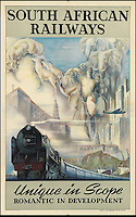 BNPS.co.uk (01202 558833)<br /> Pic: SwannGalleries/BNPS<br /> <br /> ***Please Use Full Byline***<br /> <br /> South African Railways - &pound;1000<br /> <br /> Beautiful posters from the halcyon days of travel up for auction.<br /> <br /> Scarce vintage travel posters promoting holidays across the globe in the 1920's and 30's are tipped to sell for over &pound;200,000 .<br /> <br /> The fine collection of 200 works of art that hark back to the halcyon days of train and boat travel have been brought together for sale.<br /> <br /> The posters were used to advertise dream holiday destinations in far-flung places such as the US and Australia and to celebrate the luxurious ways of getting to them.<br /> <br /> Most of the advertising posters date back to the 1930s and are Art Deco in style and they are all from the original print-run.