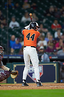 Jack Rogers (44) of the Sam Houston State Bearkats at bat against the Mississippi State Bulldogs during game eight of the 2018 Shriners Hospitals for Children College Classic at Minute Maid Park on March 3, 2018 in Houston, Texas. The Bulldogs defeated the Bearkats 4-1.  (Brian Westerholt/Four Seam Images)