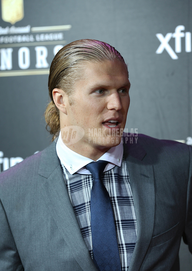 Feb. 2, 2013; New Orleans, LA, USA:  Green Bay Packers player Clay Matthews on the red carpet prior to the Super Bowl XLVII NFL Honors award show at Mahalia Jackson Theater. Mandatory Credit: Mark J. Rebilas-USA TODAY Sports