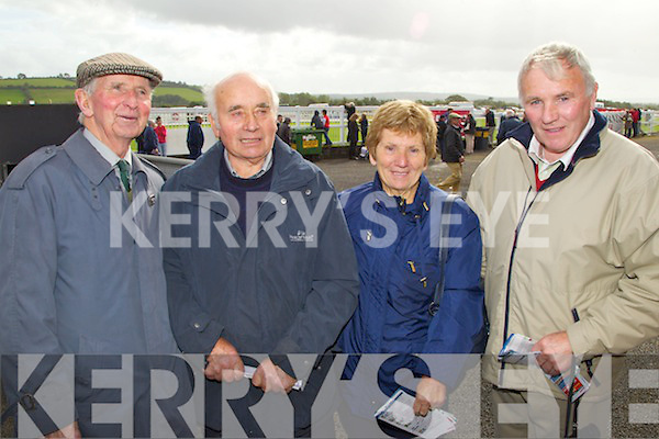 Pictured at Listowel Races on Sunday, from left: Jake Warden (Churchtown), Dylan Coffey (Midleton) and Margaret and Tom Fitzgerald (Midleton)..