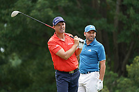 Padraig Harrington (IRL) tees off the 18th tee as Sergio Garcia (ESP) looks on during Wednesday's Practice Day of the 2017 PGA Championship held at Quail Hollow Golf Club, Charlotte, North Carolina, USA. 9th August 2017.<br /> Picture: Eoin Clarke | Golffile<br /> <br /> <br /> All photos usage must carry mandatory copyright credit (&copy; Golffile | Eoin Clarke)