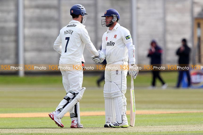 James Foster (L) and Mark Pettini of Essex enjoy a century partnership - Cambridge MCCU vs Essex CCC - Cricket Friendly Match at Fenners Cricket Ground, University of Cambridge - 05/04/13 - MANDATORY CREDIT: Gavin Ellis/TGSPHOTO - Self billing applies where appropriate - 0845 094 6026 - contact@tgsphoto.co.uk - NO UNPAID USE.