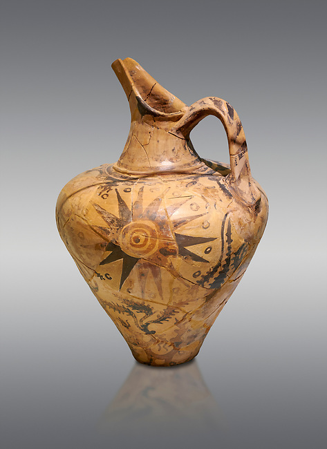 Minoan decorated jug with sun design, Phaistos Palace 1500-1450 BC; Heraklion Archaeological  Museum, grey background.