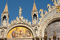 Front of Saint Marks Basilica Resurection of Christ Mosaic-  - Venice - Italy