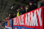 AFC Fylde 1, Aldershot Town 0, 14/03/2020. Mill Farm, National League. Visiting supporters cheering their team on during the first-half as AFC Fylde took on Aldershot Town in a National League game at Mill Farm, Wesham. The fixture was played against the backdrop of the total postponement of all Premier League and EFL football matches due to the the coronavirus outbreak. The home team won the match 1-0 with first-half goal by Danny Philliskirk watched by a crowd of 1668. Photo by Colin McPherson.