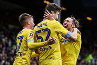Leeds United's goalscorer Aapo Halme is congratulated by team mates Jack Clarke and Luke Ayling <br /> <br /> Photographer Andrew Kearns/CameraSport<br /> <br /> The Emirates FA Cup Third Round - Queens Park Rangers v Leeds United - Sunday 6th January 2019 - Loftus Road - London<br />  <br /> World Copyright &copy; 2019 CameraSport. All rights reserved. 43 Linden Ave. Countesthorpe. Leicester. England. LE8 5PG - Tel: +44 (0) 116 277 4147 - admin@camerasport.com - www.camerasport.com