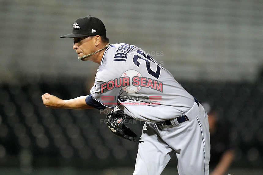 Peoria Javelinas pitcher Jeff Ibarra #26 during an Arizona Fall League game against the Scottsdale Scorpions at Scottsdale Stadium on November 1, 2011 in Scottsdale, Arizona.  Scottsdale defeated Peoria 6-4.  (Mike Janes/Four Seam Images)