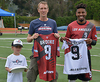 May 24, 2015; Los Angeles, CA, USA; Los Angeles Aviators cutter Husayn Carnegie (right) and Haynes Brooke (center) pose before the American Ultimate Disc League (AUDL) matc against the San Francisco Flamethrowers at Occidental College. The Aviators defeated the Flamethrowers 23-22. <br /> <br /> Photo by Kirby Lee